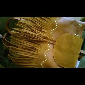 Handbags - Beautiful Honey Brown Fringe Backpack