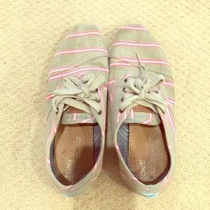 TOMS gray and pink striped sneakers