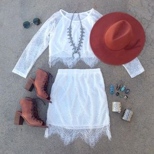 Laced Two Piece Skirt + Top Set