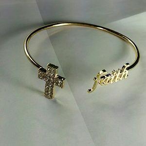 Jewelry - Price drop! Gold tone Faith bracelet