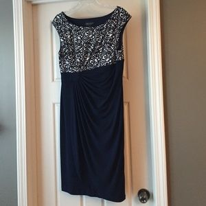 Connected Apparel Dresses & Skirts - Navy blue and white dress