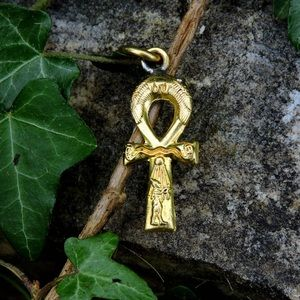 Jewelry - Vintage Bas Relief Egyptian Ankh Brass Pendant