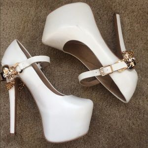 Jeffrey Campbell Shoes - WHITE & GOLD ZigiNY Skull Platforms