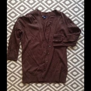 [gap] brown cardigan 3/4 length sleeve