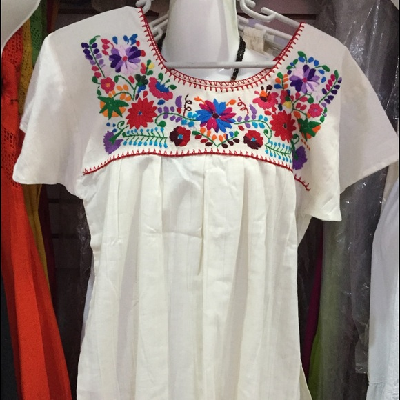 Traditional Mexican Embroidered Sunflower Shirt Floral Top
