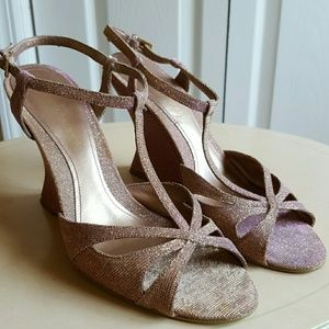 Enzo Angiolini Gold/Pink Glittered Wedges