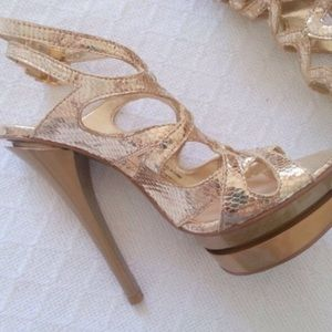 H by Halston Shoes - H by Halston Gold Snake Print Pumps