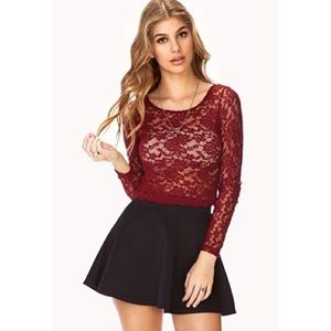 Maroon lace cropped top