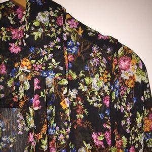New Look Tops - 👠Black Multi Floral Print Sheer Top