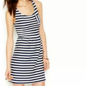 Maison jules striped dress navy