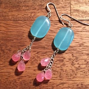 Into the Glimmer Jewelry - Turquoise and pink earrings