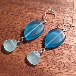 Into the Glimmer Jewelry - Recycled glass and chalcedony earrings
