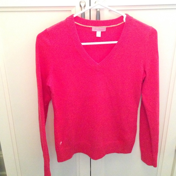 80% off Lilly Pulitzer Sweaters - Hot Pink Lilly Pulitzer V Neck ...