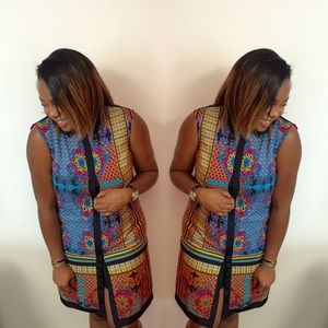 Ivy and Blu Dresses - Mosaic Print Shirt / Shift Dress