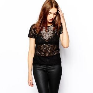Warehouse embroidered lace tee