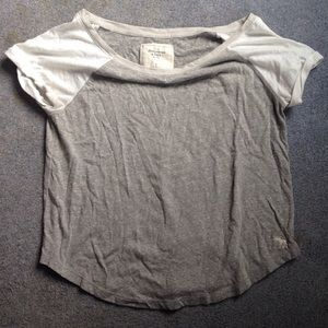 Tops - Abercrombie loose grey and white shirt