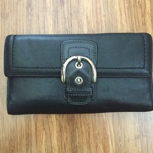 Black coach trifold buckle leather wallet