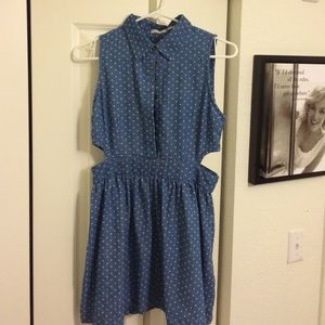 Poetry Dresses - Cutout denim dress with collar