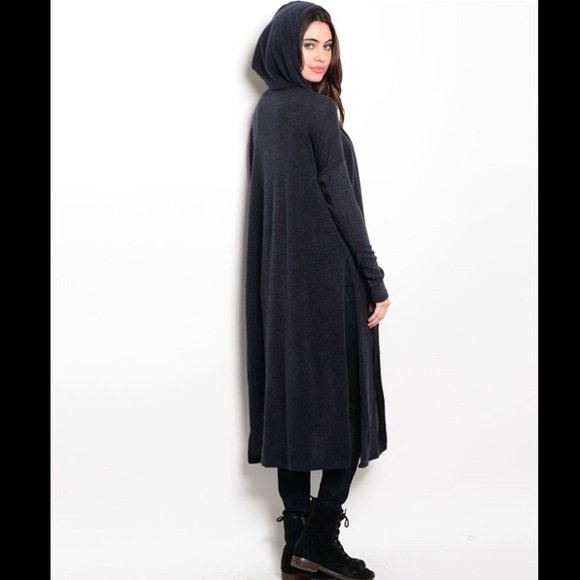 Charcoal Hooded Knit Duster/Cardigan One Size Fits Most from ...