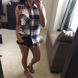 Tops - Flannel sleeveless top