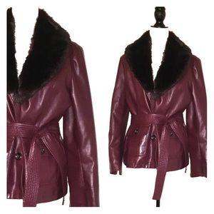 Jackets & Blazers - 🎉😊Stylish Faux Fur Burgundy Jacket
