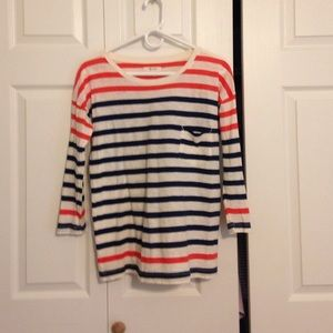 Red & Navy Madewell stripe tee