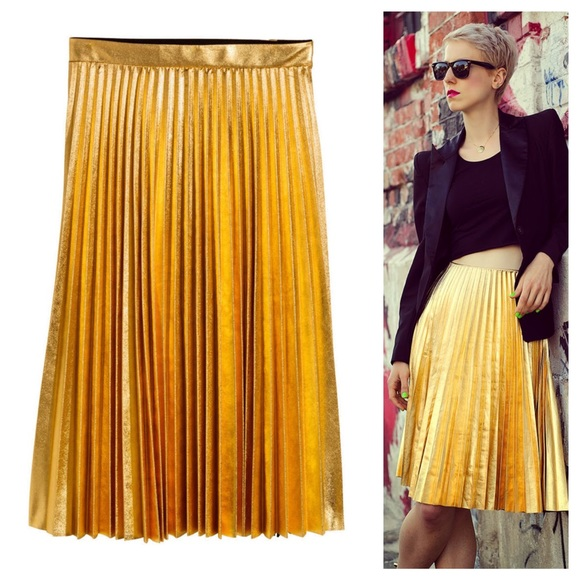7ed3e597ab H&M gold pleated skirt. M_55aeb23bbf441c56cf01ee1e