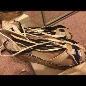 "Burberry tie up 3"" quilted espadrilles size 41"