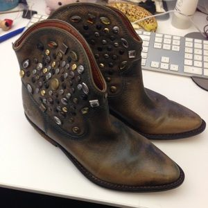 Leather Studded Cowboy Boots Pre-owned