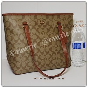 New Coach signature khaki brown leather tote