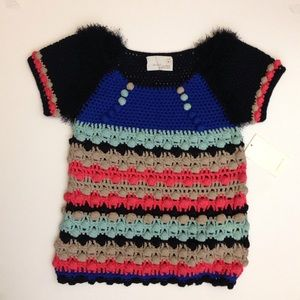 Multicolor Short Sleeves Sweater