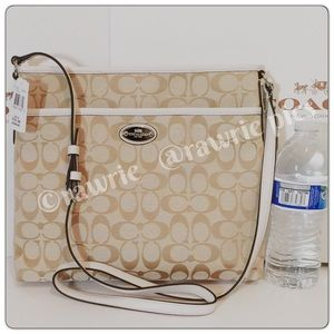 New Coach signature white khaki Crossbody file bag