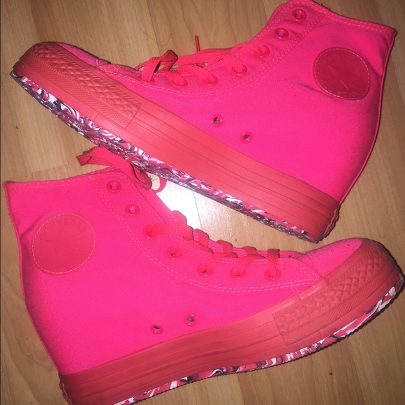 ffbb63dd41b8 Converse Shoes - Fluorescent pink red converse wedges sz 8.5