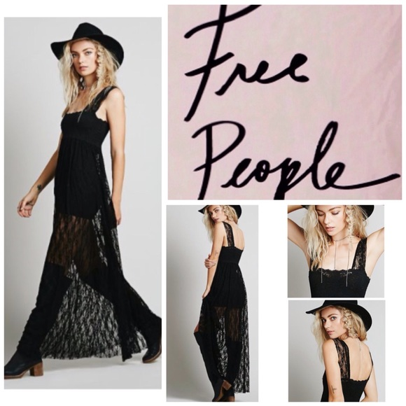 3be8e78c87085a Free People Dresses | Black Sheer Lace Maxi Dress Nwt | Poshmark