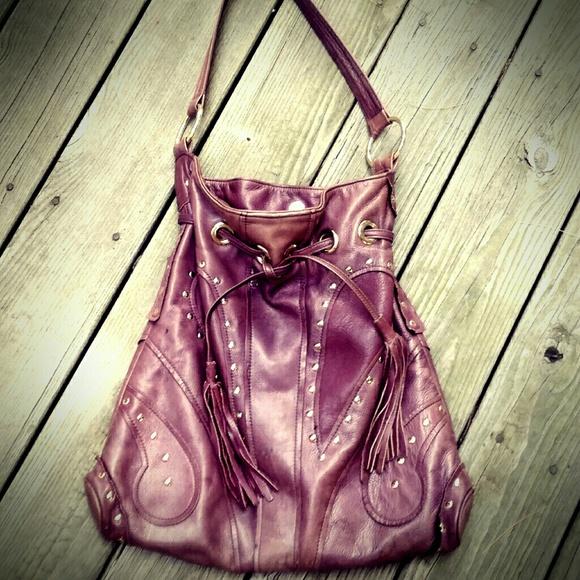 934ff5102d99 Bulga Handbags - Bulga Deep Purple Leather Stud Butterfly Hobo Bag