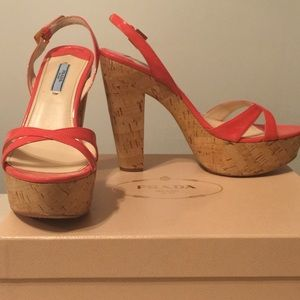 Prada cork heel sandal