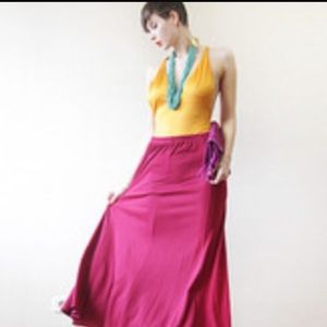 Dresses & Skirts - Sateen magenta maxi skirt custom made size 10.