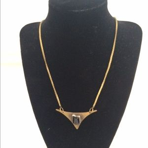 Black stone triangle necklace