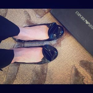 Black Emporio Armani Patent Leather Flats