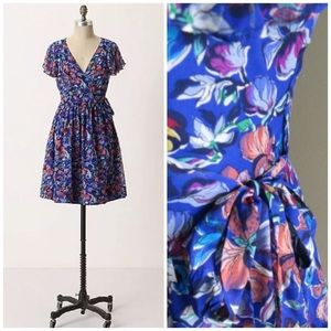 Anthropologie Blooming Sapphire Wrap Dress