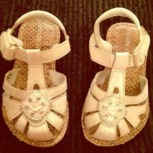 Stride Rite White leather sandals 5 infant girls