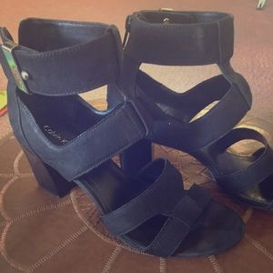 Black Suede Gladiator Stack Heel