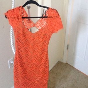 Bebe orange lace dress