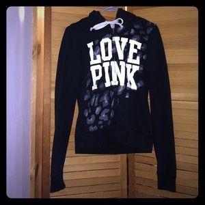 Love Pink black,white,& grey leopard print hoodie