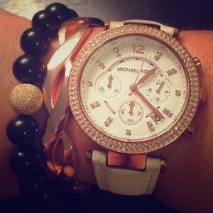 Leather rose gold Michael kors watch