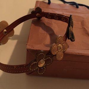 Vuitton floral leather necklace/bracelet Brown