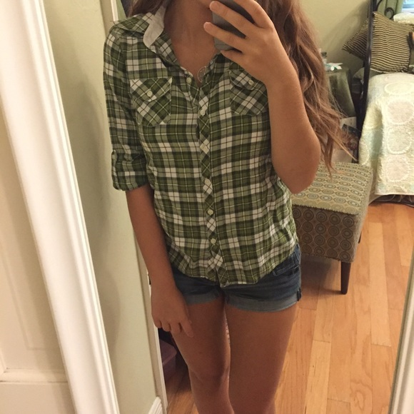57 Off Delia 39 S Tops Green Plaid Button Down Shirt From