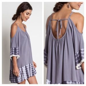 ❗️JUST IN❗️ Gray Tie Dye Cold Shoulder Dress