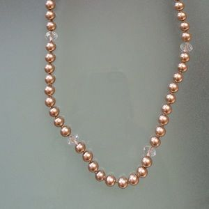 Faux pearl and lucite necklace
