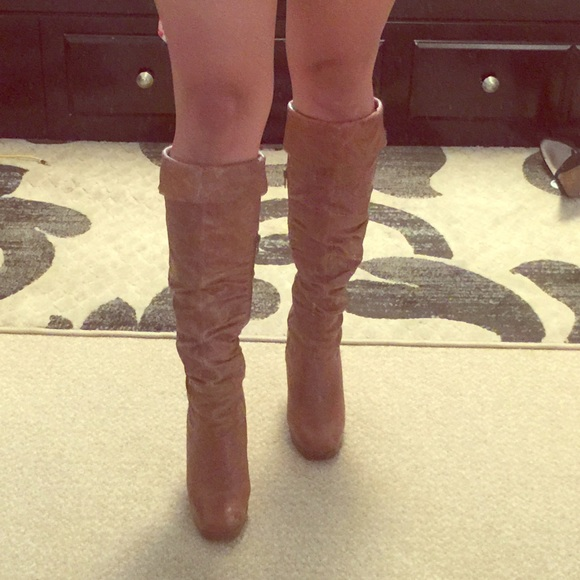 b6643a18243 Jessica Simpson tan knee high leather boots